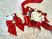 Свадебная бутоньерка и браслет Bouquet. Цвет марсала.