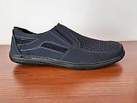 Босоніжки сандалі чоловічі темно сині нубук, фото 1