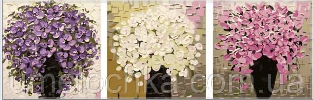 Картина раскраска триптих цветы Babylon Триптих. Три букета