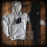 Спортивный костюм серо-черный New Balance с капюшоном топ-реплика