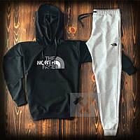 Спортивный костюм черно-серый The North Face с капюшоном топ-реплика