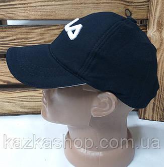 """Мужская кепка темно-синего цвета, с вышивкой в стиле """"Fila"""" (копия), большая вышивка, трикотаж, на регуляторе, фото 2"""