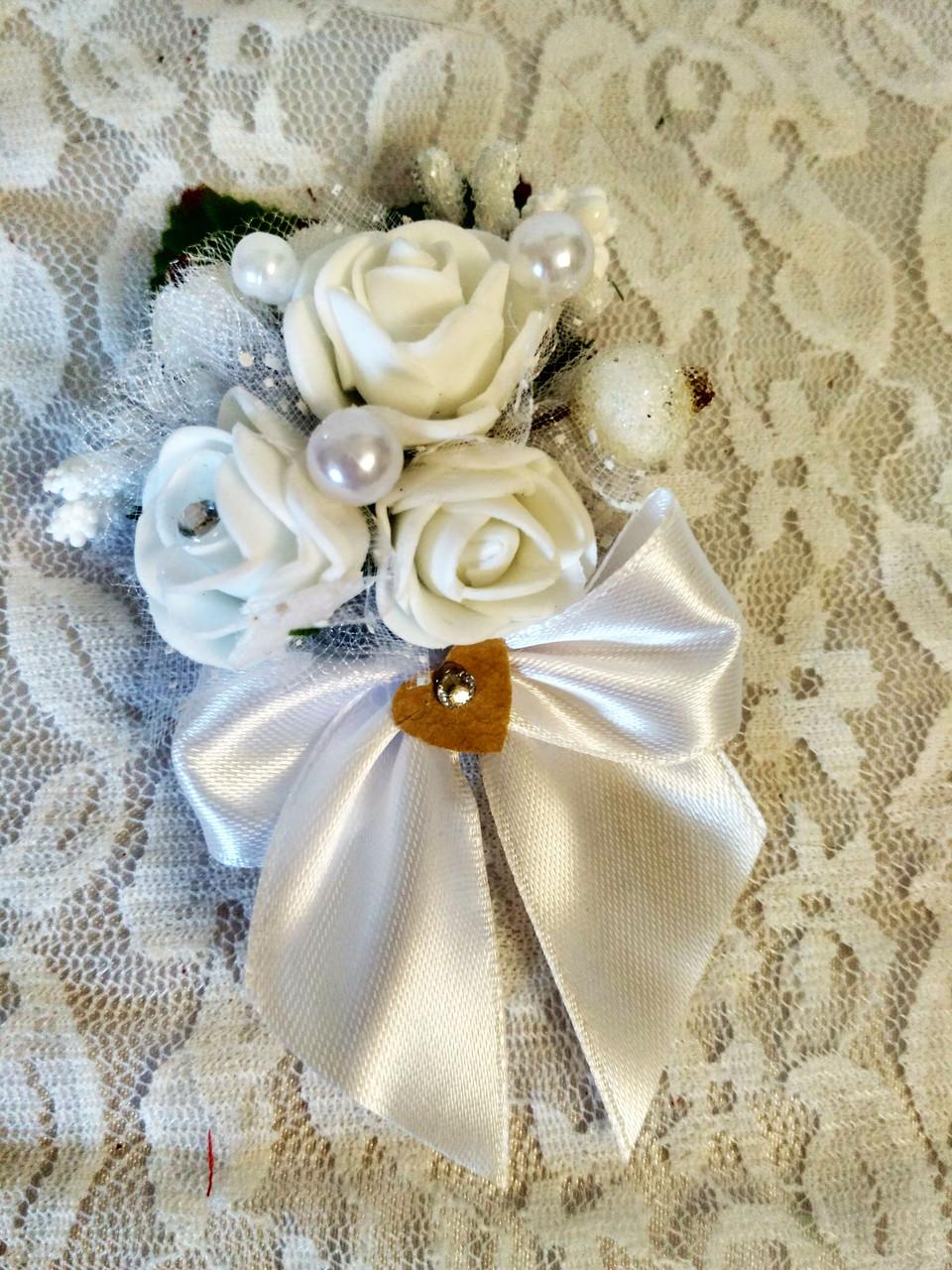 Бутоньерка свадебная Bouquet. Цвет белый.