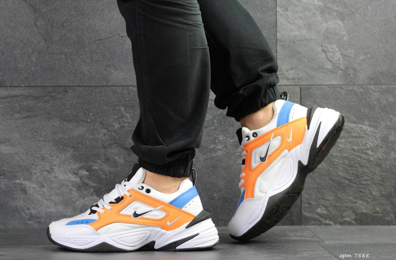 Мужские кроссовки Nike M2K Tekno,белые с оранжевым