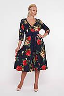 Платье расклешенное Луиза крупные розы, фото 1