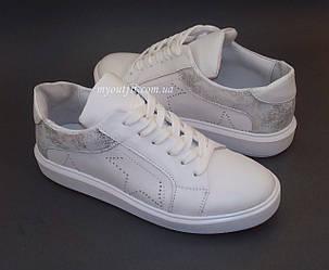 Женские кожаные кроссовки Белые