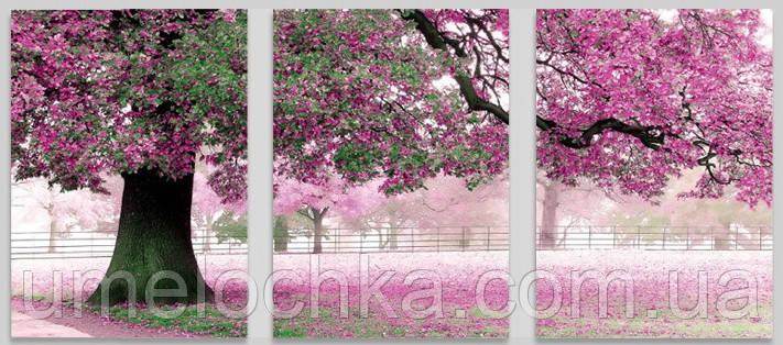 Картина раскраска триптих цветы Babylon Весенний цвет