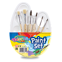 Набор пластиковая палитра + кисти  в упаковке. 6 шт. - 2 плоские щетина   4 круглые пони