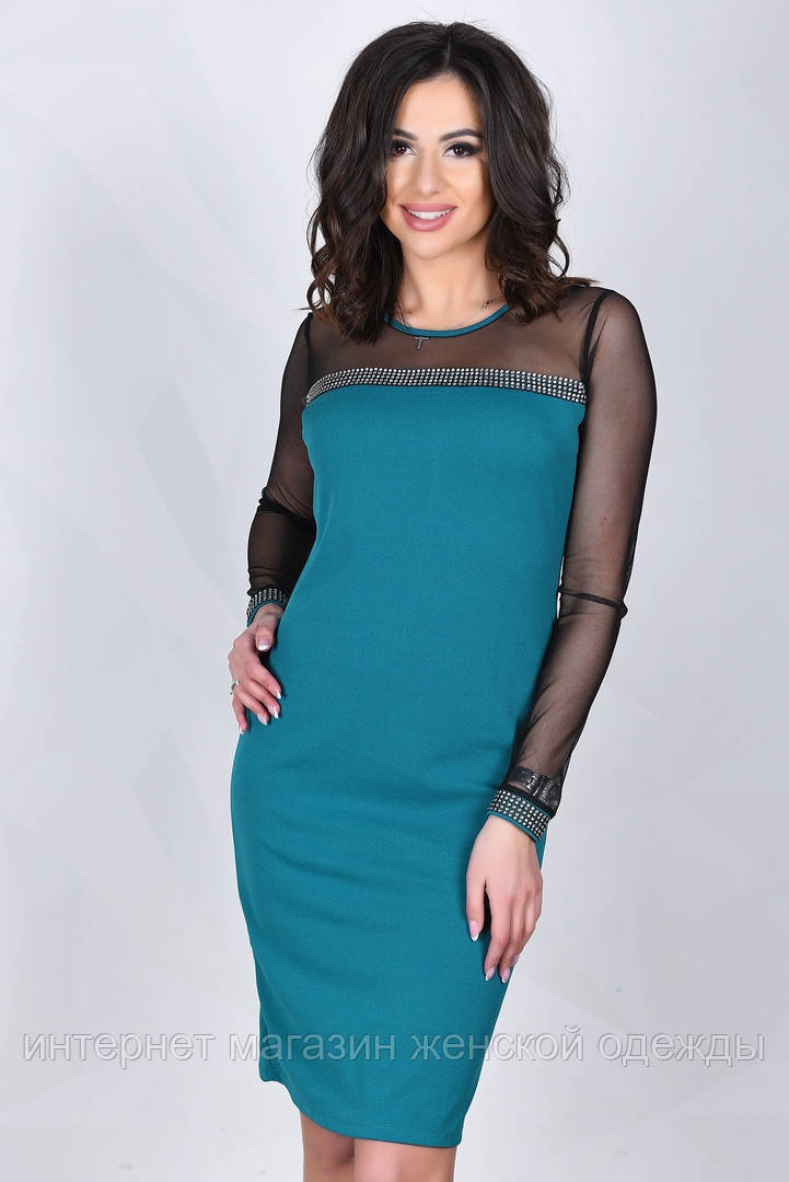 Нарядное платье бирюзового цвета с прозрачным черным верхом и рукавами