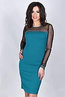 Нарядное платье бирюзового цвета с прозрачным черным верхом и рукавами, фото 1