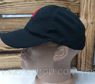 Мужская кепка черного цвета, с вышивкой в стиле Reebok (реплика), большая вышивка, лакоста, на регуляторе, фото 2