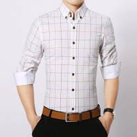 Классическая стильная мужская рубашка slim-fit «Business style» белая в клетку