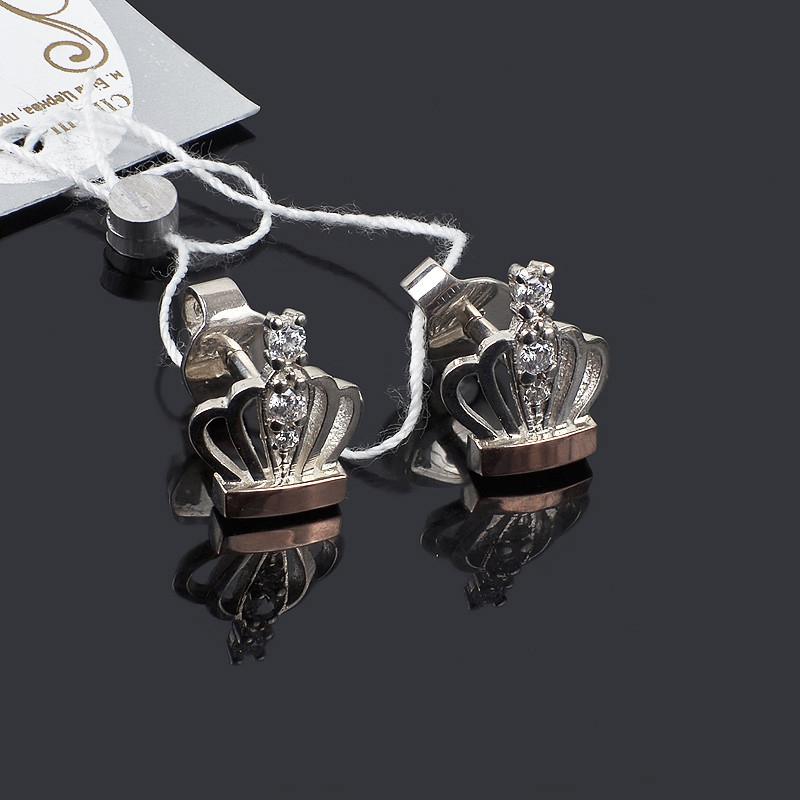 Серебряные серьги с золотой вставкой Корона