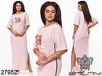 Прямое длинное платье с разрезами по бокам и пайетками с 48 по 58 размер, фото 1