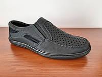 Туфли мокасины мужские летние черные удобные, фото 1