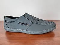 Туфлі мокасини чоловічі літні сірі нубук, фото 1