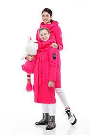 Зимний подростковый пуховик для девочки и мамы размеры 32-38, маме от 42 до 56