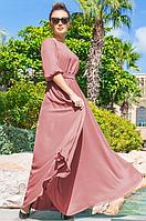 Длинное летнее платье в пол из шифона шелка с юбкой полусолнце