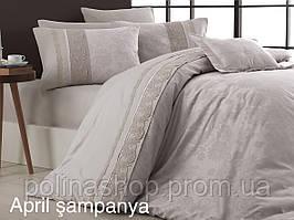 """Комплект постельного белья First Choice Vip Сатин  """"April"""" sampanya Евро"""