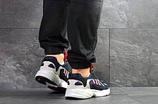 Мужские модные кроссовки Adidas Yung,замшевые темно синие с белым, фото 3