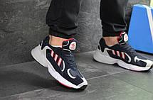 Мужские модные кроссовки Adidas Yung,замшевые темно синие с белым, фото 2