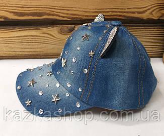 Детская джинсовая кепка с ушками и декоративными вставками, сезон весна-лето, с регулятором, размер 48-50, фото 2