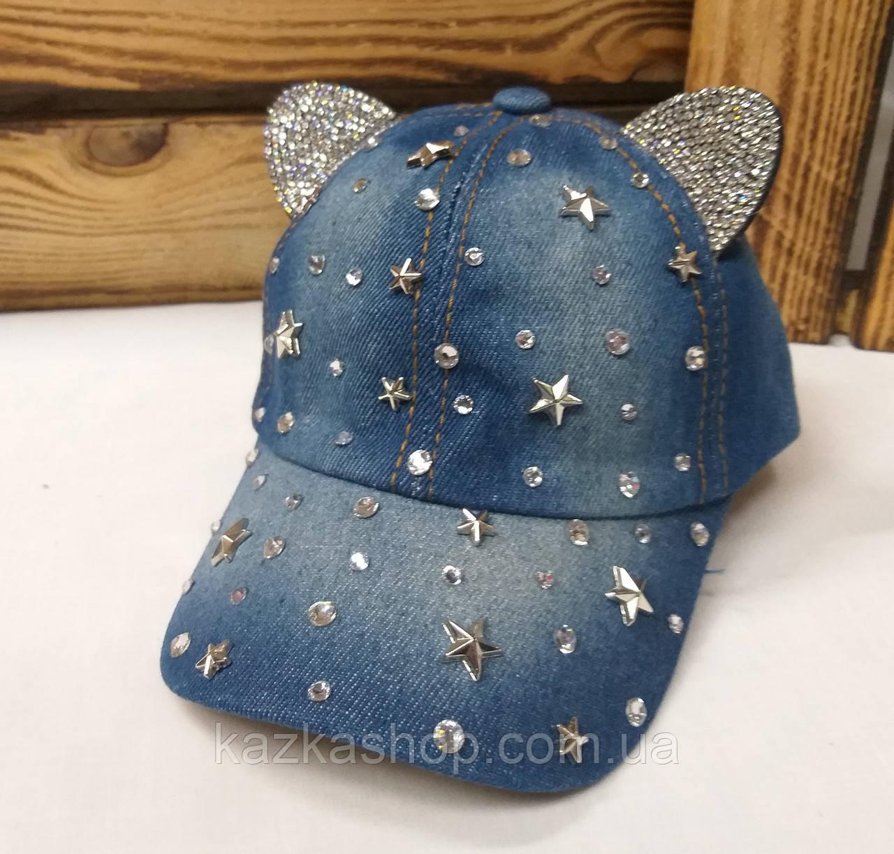 Детская джинсовая кепка с ушками и декоративными вставками, сезон весна-лето, с регулятором, размер 48-50