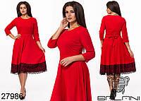 Повседневное замшевое платье с кружевным подолом с 48 по 58 размер, фото 1