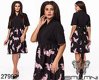 Оригинальное черное платье с принтом птиц на юбке с 48 по 58 размер, фото 1