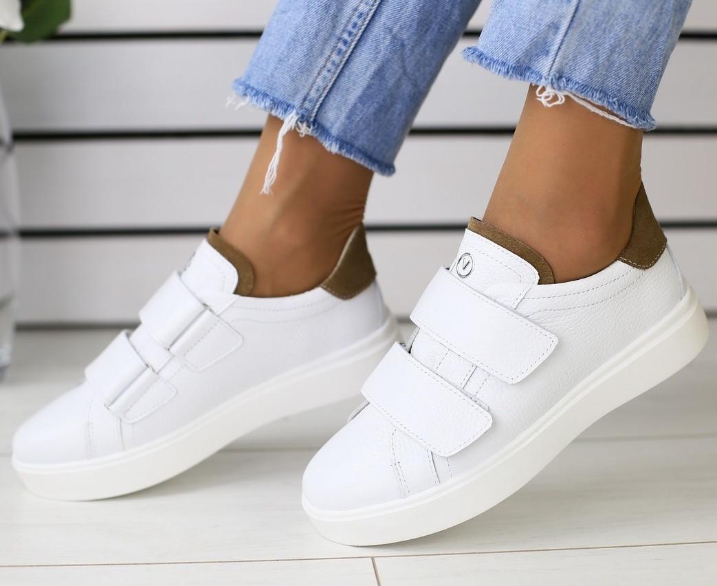 2f09a5d77 Модные женские кожаные кроссовки кеды на высокой подошве замшевые вставки  белые на липучках FR69JU05IR - TOP