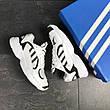 Модні чоловічі кросівки Adidas Yung,замшеві,білі з чорним, фото 2