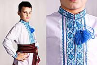 Вишиванка для хлопчика з блакитною вишивкою