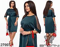 """Элегантное атласное платье с рукавом """"летучая мышь"""" с 48 по 62 размер, фото 1"""