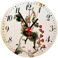 """настенные часы МДФ круглые """"Женщина на качельке"""", фото 1"""