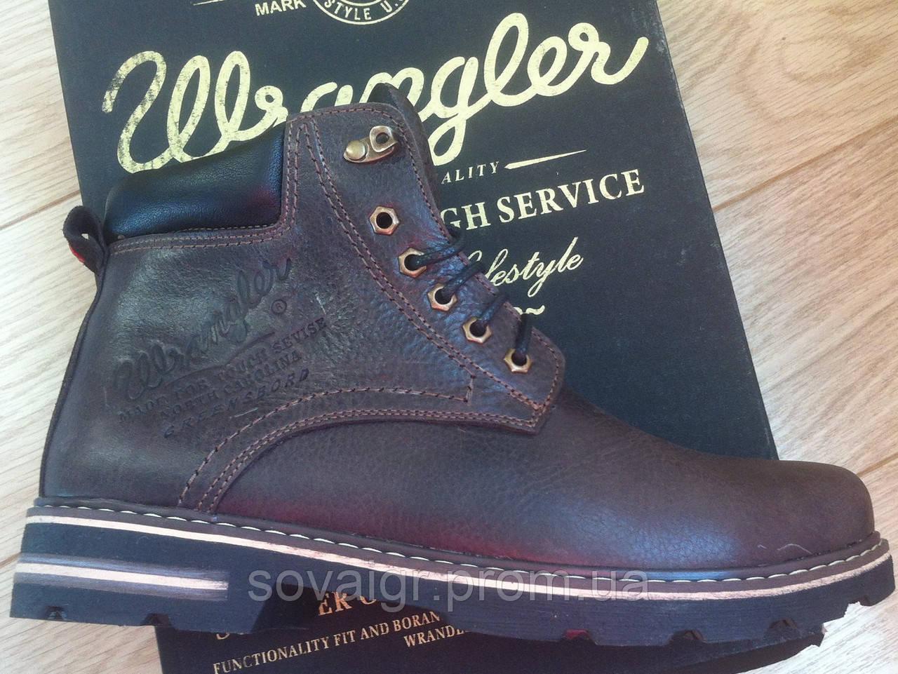 Мужские зимние кожанные ботинки в стиле Wrangler коричневые