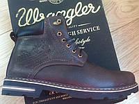Мужские зимние кожанные ботинки в стиле Wrangler коричневые, фото 1
