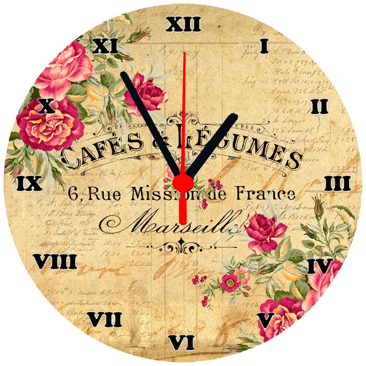 """Годинники настінні скляні круглі """"Cafes & Legumes"""""""