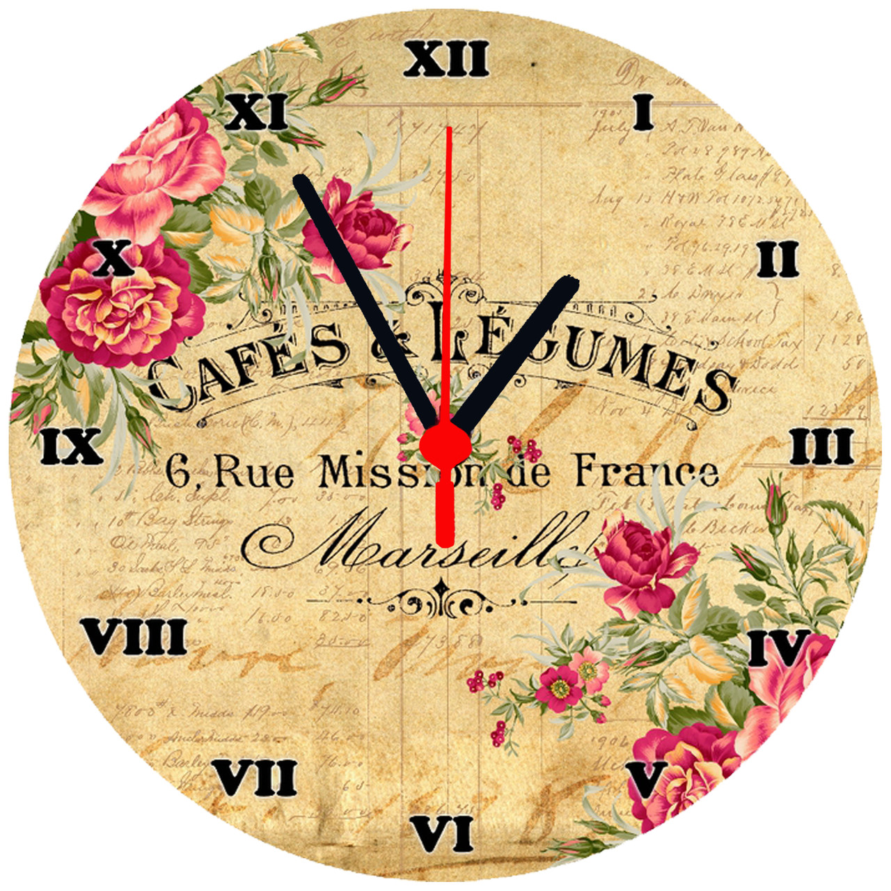 """настенные часы стеклянные круглые """"Cafes & Legumes"""""""