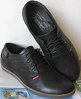 Levis стильные весенние мужские классические туфли черная кожа, фото 1
