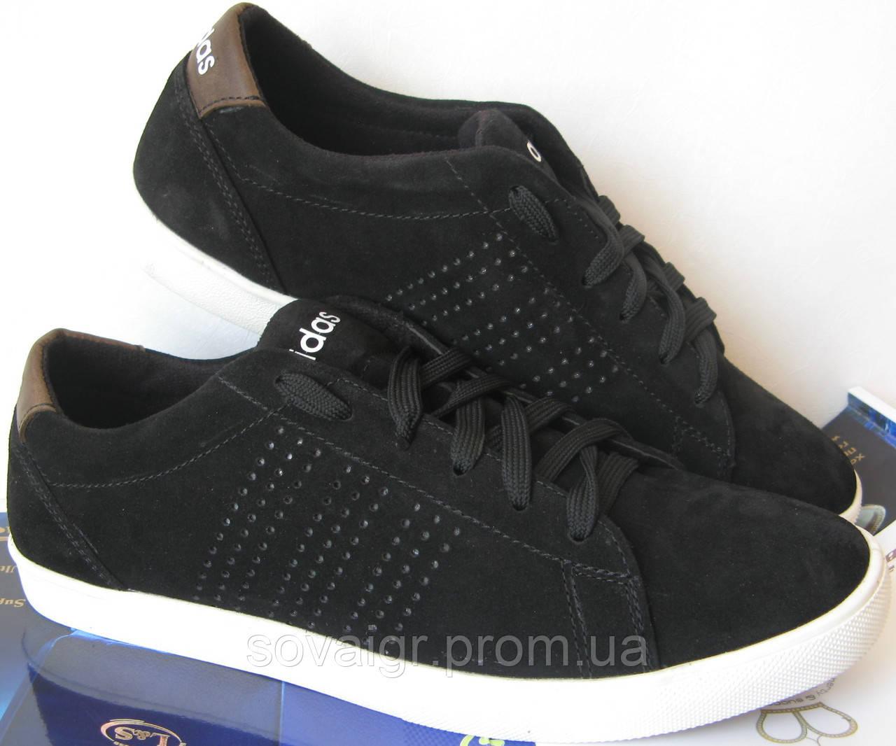 """Мужские кроссовки в стиле Adidas """"Stan Smith"""" черный замш"""
