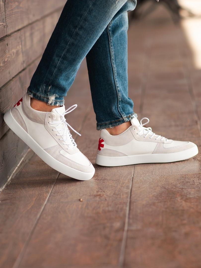 Мужские кроссовки South Wild white, замшевые белые мужские кроссовки, замшевые классические кеды