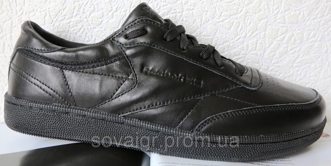 Кроссовки в стиле Reebok Club C 85 Black мужские кожа натуральная рибок