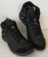 Экко зимние кожаные ботинки из кожи мех Ессо кроссовки черные, фото 1