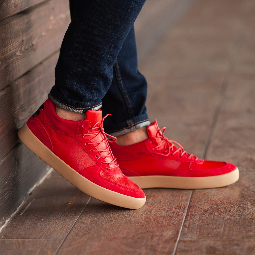 Мужские кроссовки South Wild red, замшевые красные мужские кроссовки, замшевые классические кеды