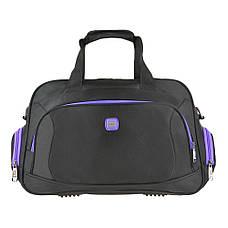Дорожная сумка нейлон чёрно-фиолетовая TONGSHENG 48x29x20  кс99912чф, фото 2