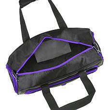 Дорожная сумка нейлон чёрно-фиолетовая TONGSHENG 48x29x20  кс99912чф, фото 3