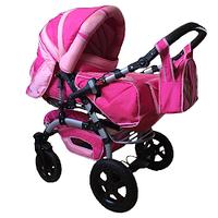 Коляска трансформер Trans baby Prado Lux малиновый+розовый