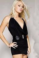 Женское черное ассиметричное платье B3223