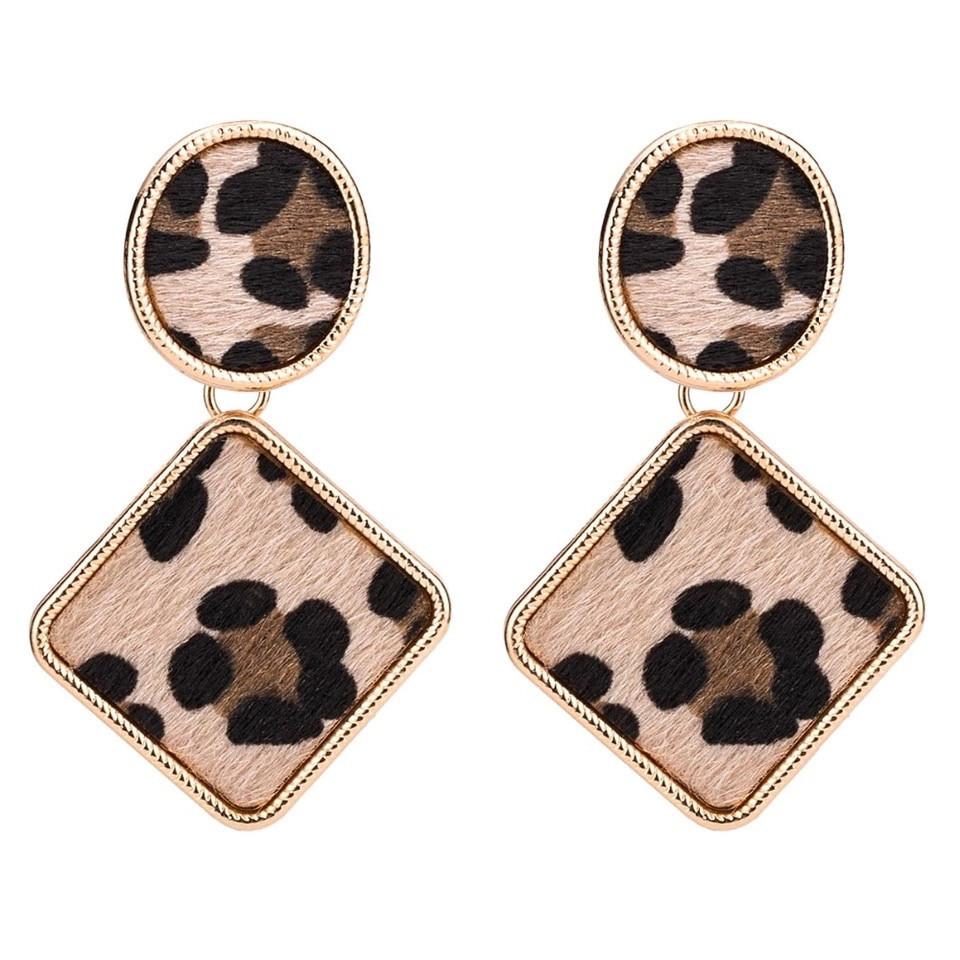 Модные леопард женские винтажные популярные висячие серьги леопардовый принт сережки тренд/ Распродажа!!!