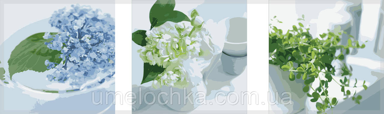 Картина раскраска триптих цветы Babylon Весенний натюрморт